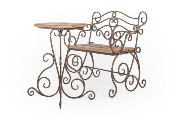Кованый столик и лавка шоколадные с патиной