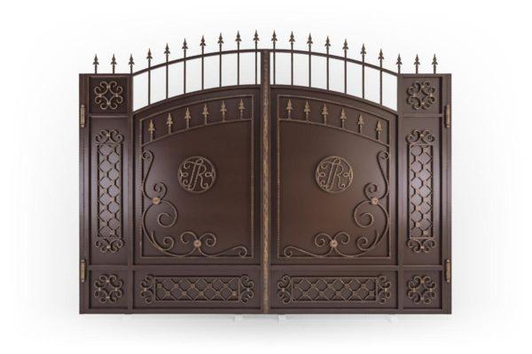 Стандартные кованые ворота c эмблемой