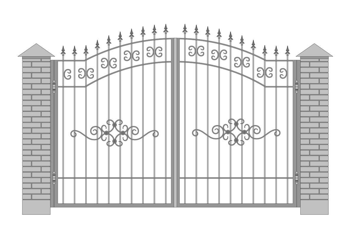 Открытые арочные ворота с шириной 3400 мм, рисунок 1