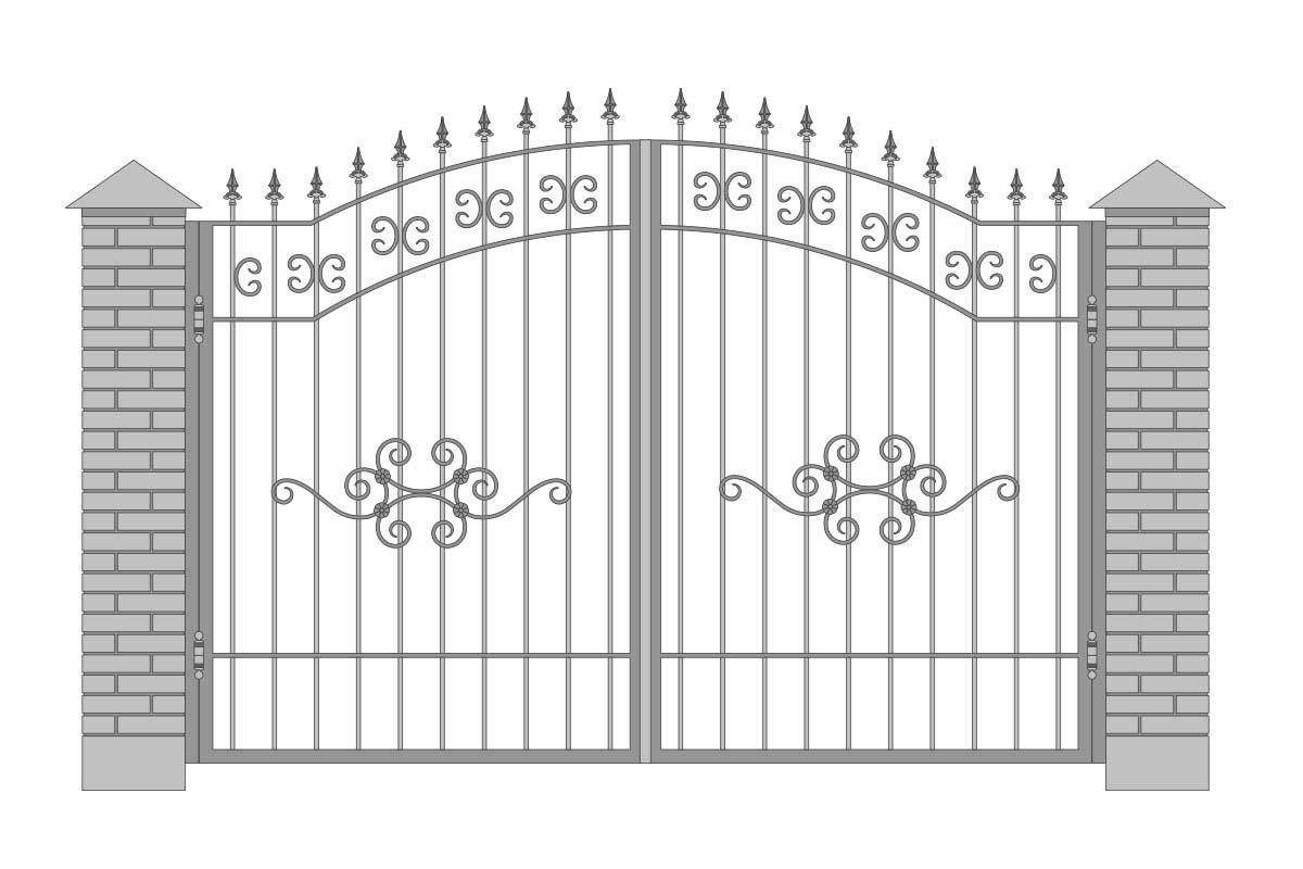 Открытые арочные ворота с шириной 3400 мм, рисунок 3