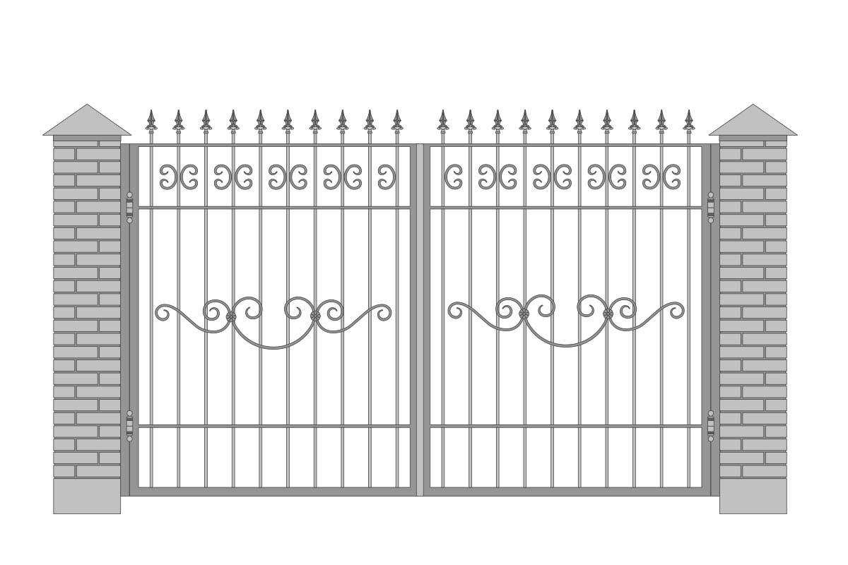 Открытые прямые ворота с шириной 3400 мм, рисунок 2