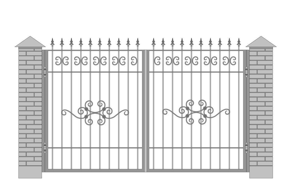Открытые прямые ворота с шириной 3400 мм, рисунок 3