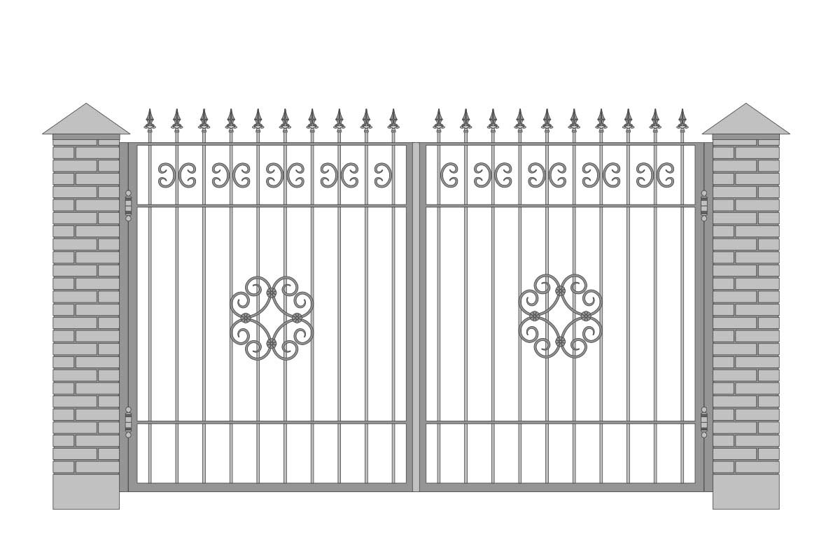 Открытые прямые ворота с шириной 3400 мм, рисунок 4