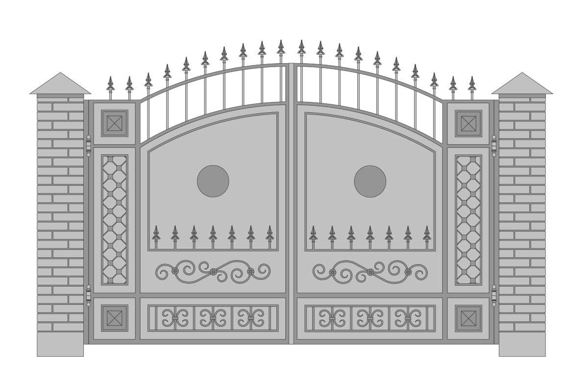 Закрытые арочные ворота с шириной 3400 мм, рисунок 2