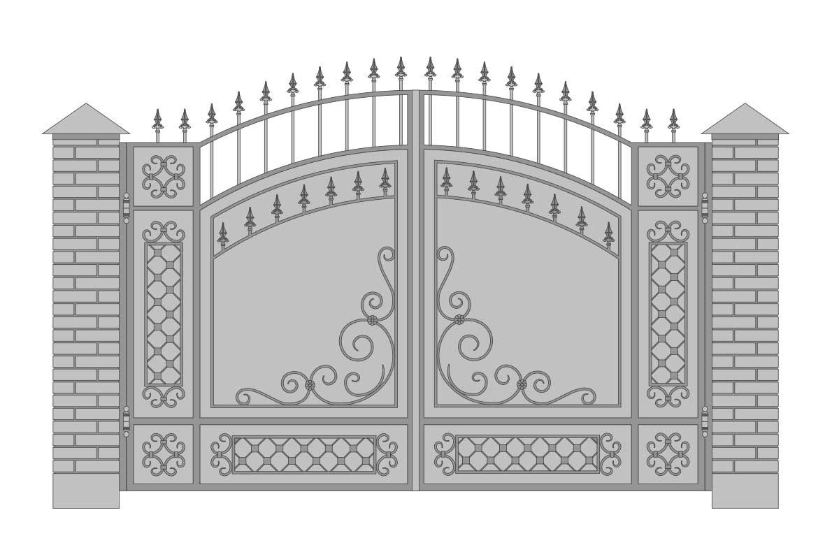 Закрытые арочные ворота с шириной 3400 мм, рисунок 1