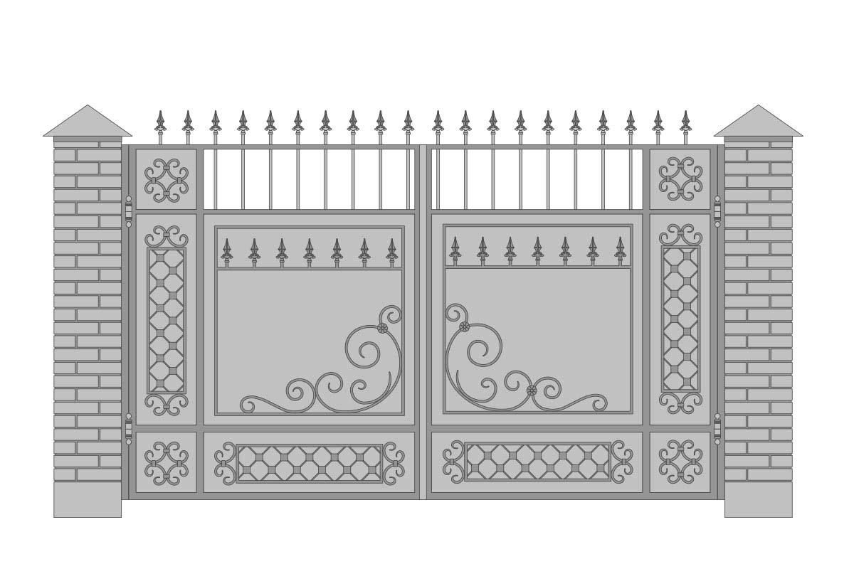 Закрытые прямые ворота с шириной 3400 мм, рисунок 1