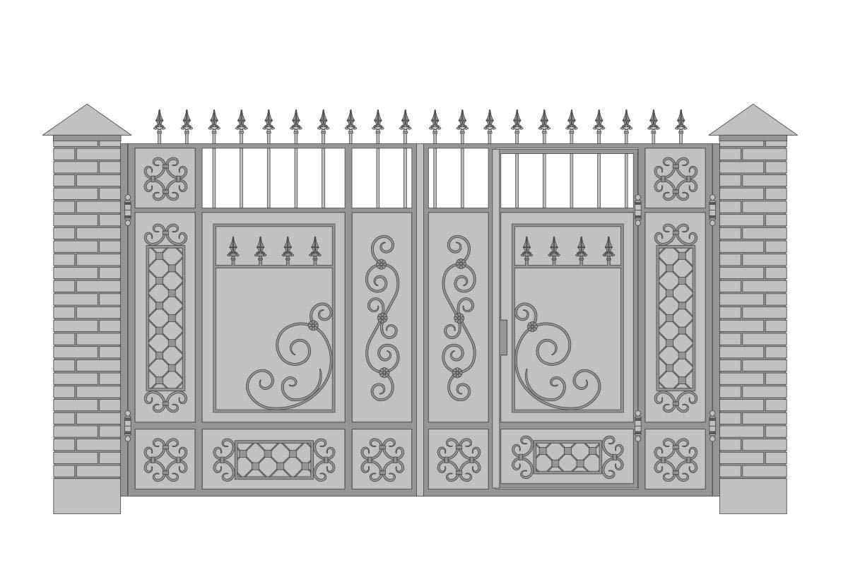Закрытые прямые ворота со встроенной калиткой и шириной 3400 мм, рисунок 1
