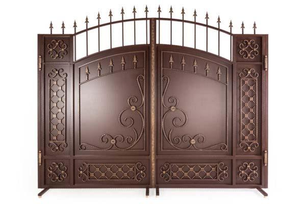 Закрытые арочные ворота с патиной ЗАВ-3000-3