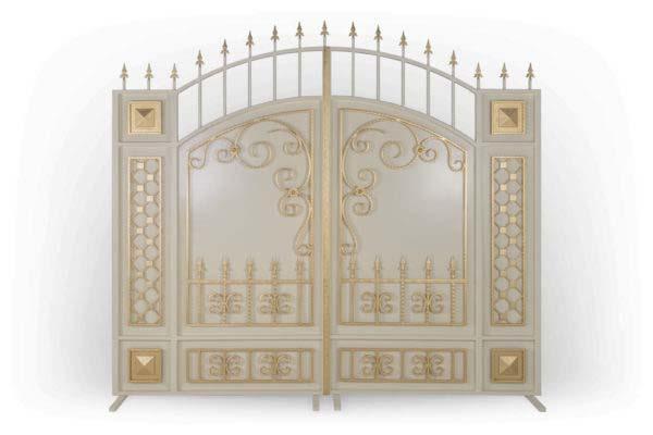 Закрытые арочные ворота белые с золотом ЗАВ-3000